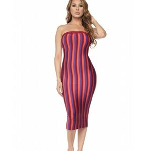 SALE! Multi Stripe Strapless Bandage Midi Dress